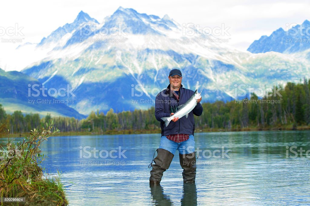 Fishing in Alaska stock photo