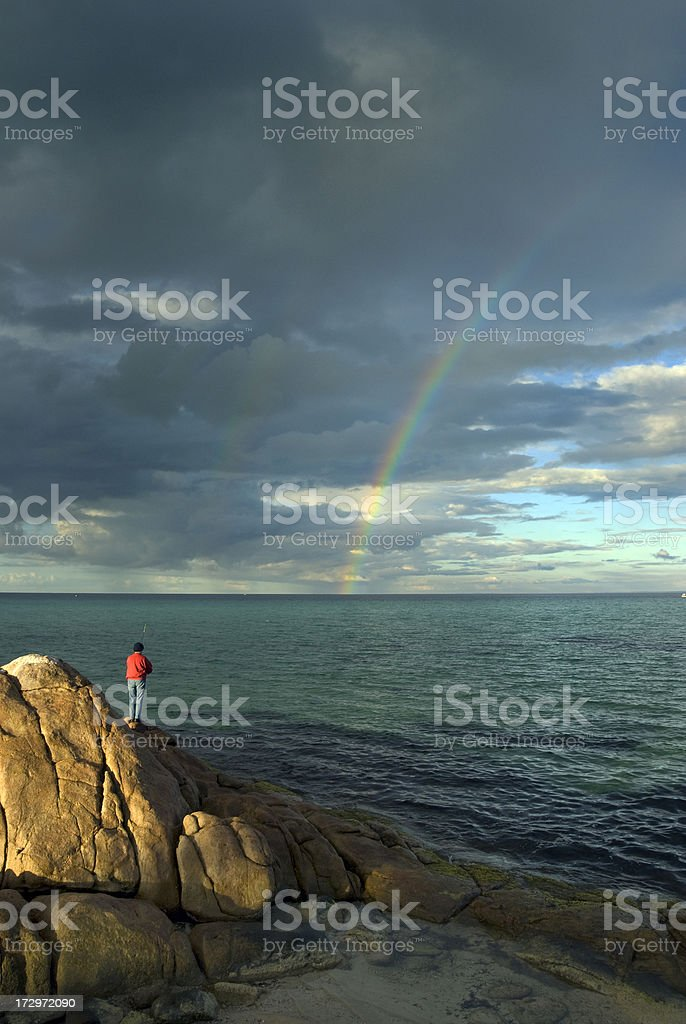 Fishing in Dunsborough during a Thunderstorm stock photo