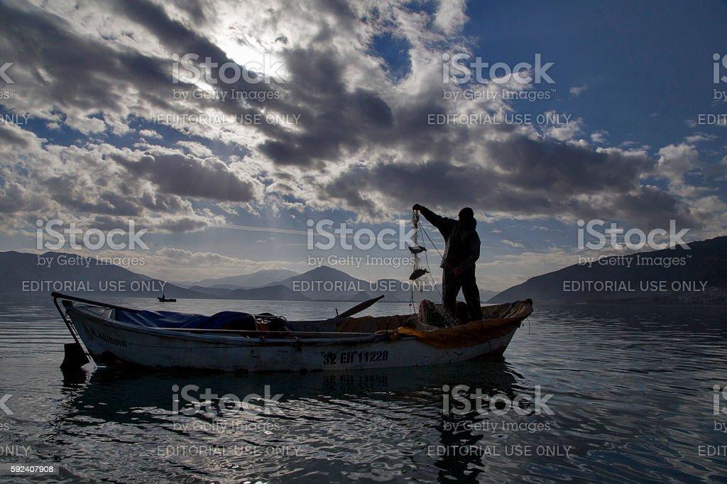 Fishing in Egirdir Lake stock photo