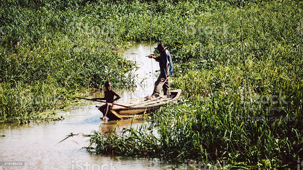 Fishing in lagoon. Benin, West Africa. stock photo
