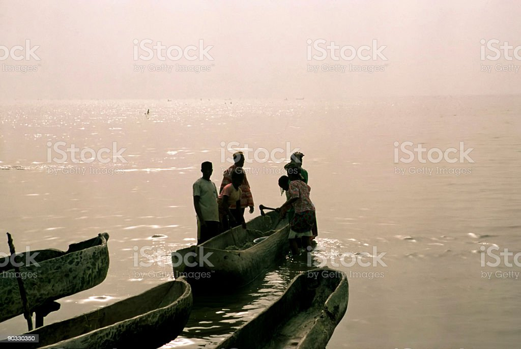 fishing in lagoon (africa) royalty-free stock photo