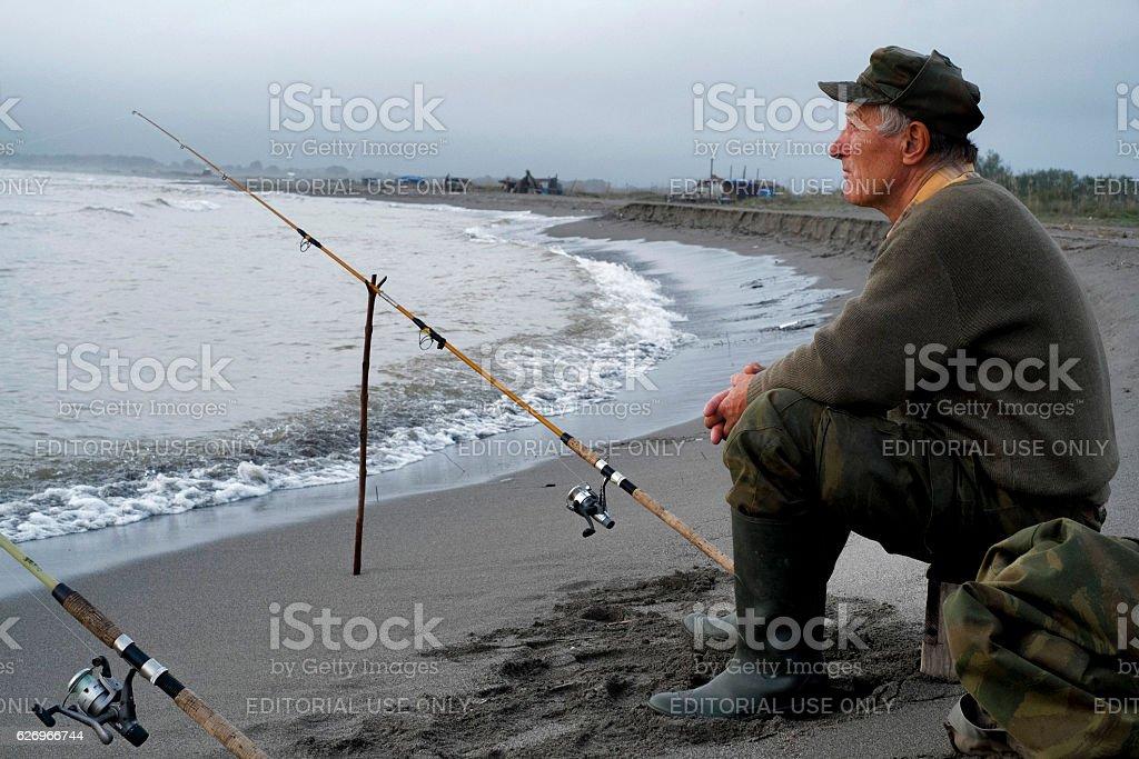 Fishing in Montenegro's Ada bojana. stock photo