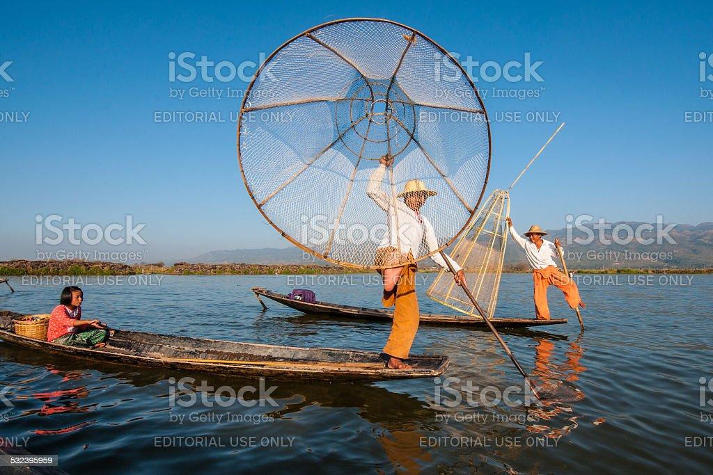 Fishing in Myanmar stock photo