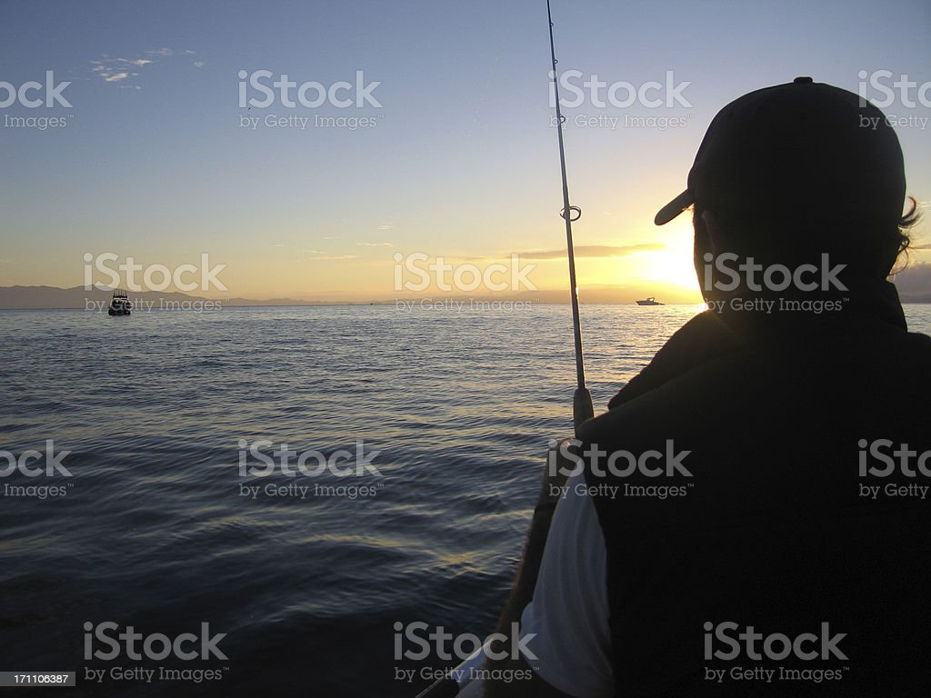 Fishing in New Zealand royalty-free stock photo