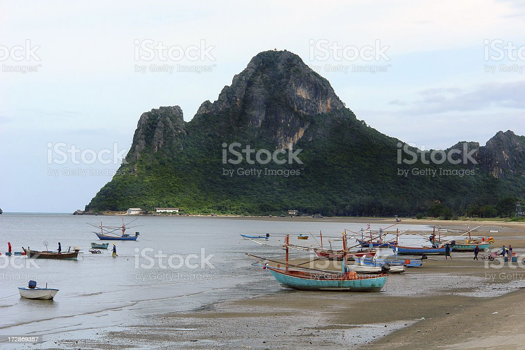 Fishing in Thailand on the Beach royalty-free stock photo