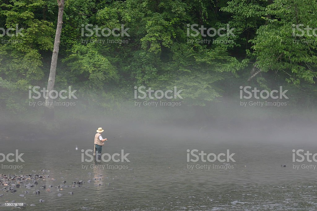 Fishing in the Fog stock photo