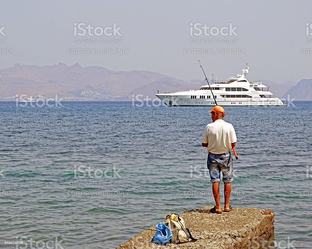 Fishing in the Mediterranean Sea stock photo