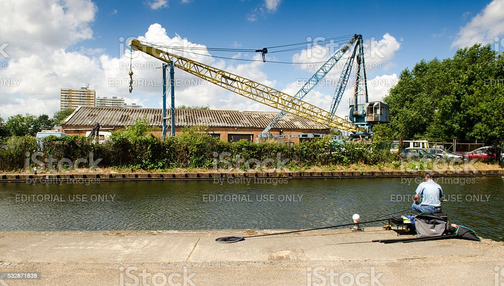 Fishing in the River Lea stock photo
