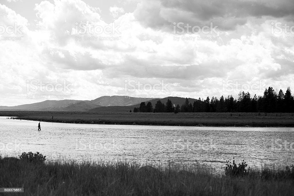 Fishing in the Snake River royalty-free stock photo