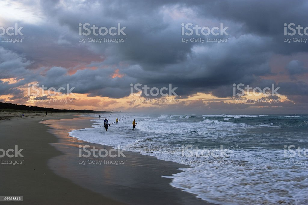 Fishing in the Storm royalty-free stock photo