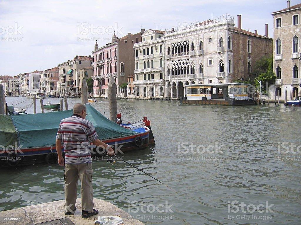 Fishing in Venice royalty-free stock photo