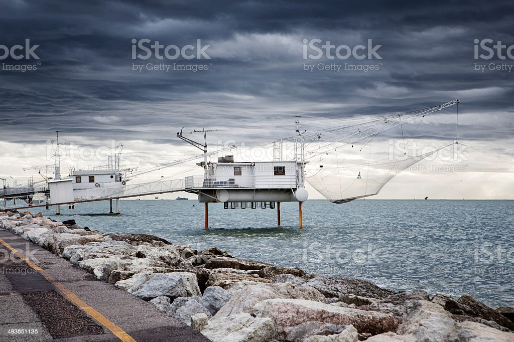 Fishing industry mediterranean sea, Marina di Ravenna stock photo