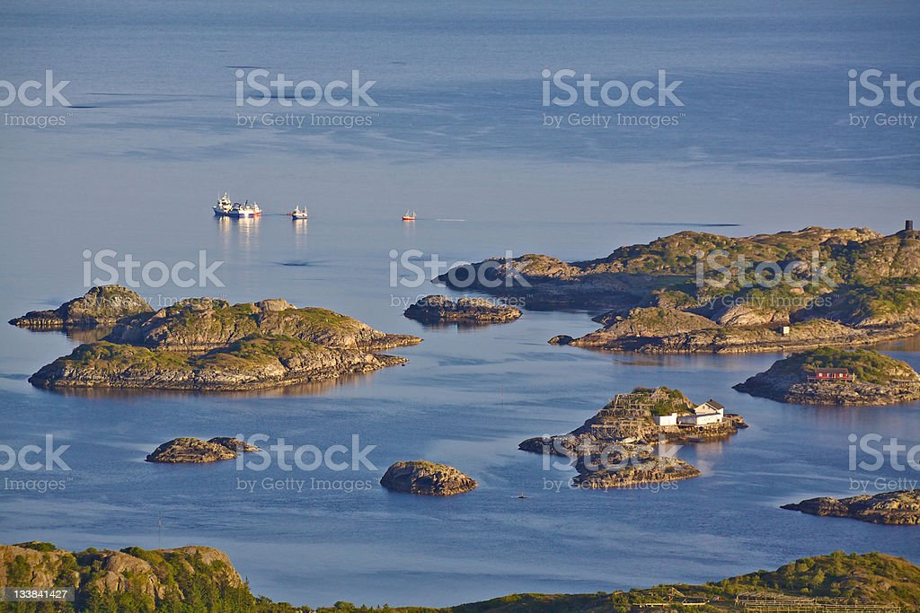 Fishing industry on tiny islands royalty-free stock photo