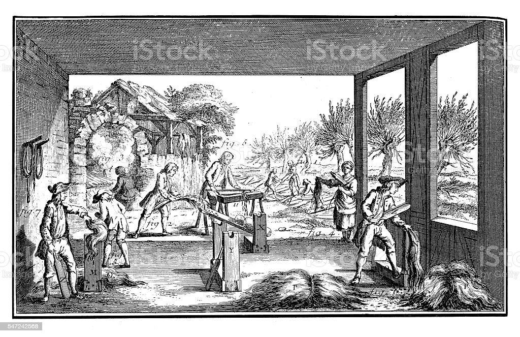 Fishing Industry: Preparing hemp (antique engraving) stock photo
