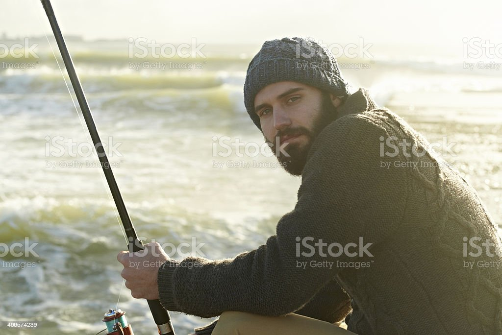 Fishing is his favourite past time stock photo