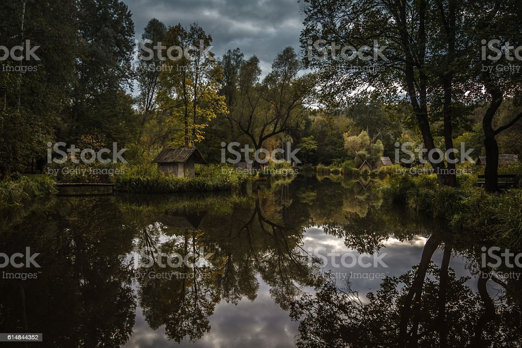 Fishing lake in the forest stock photo