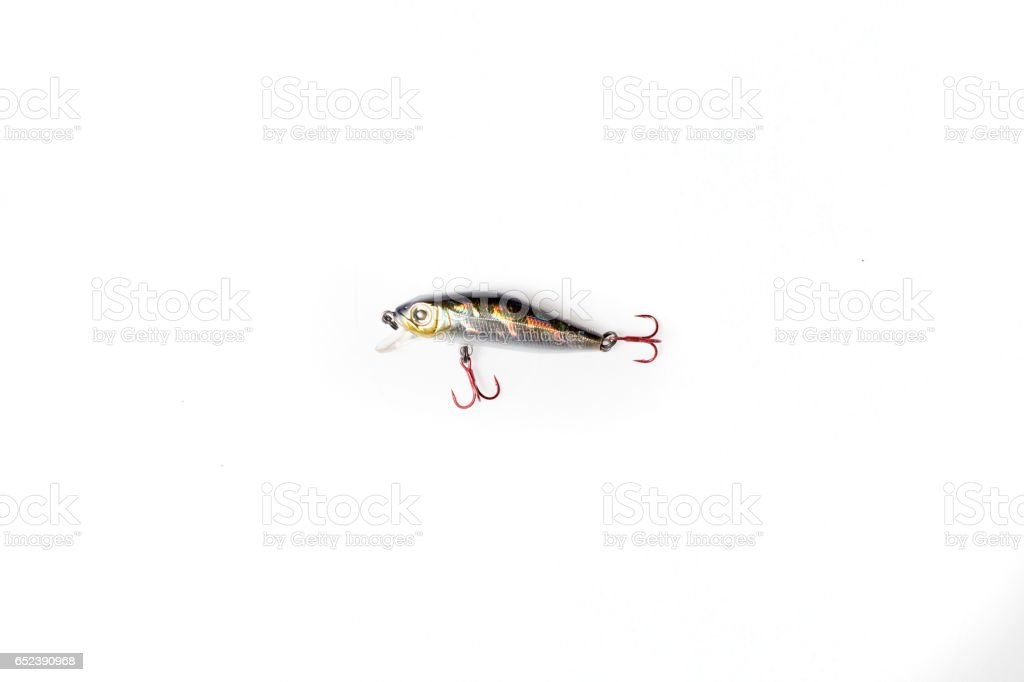 Fishing lure isolated on white. Wobbler in three color. stock photo