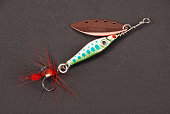 Fishing lure on gray background