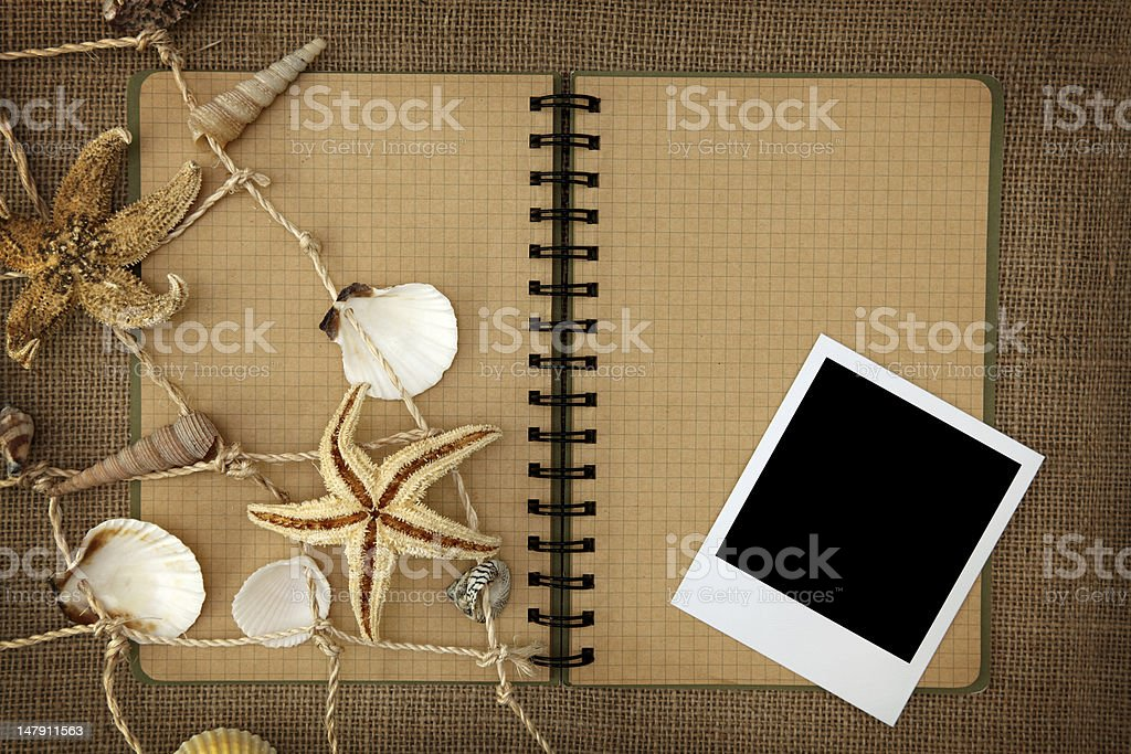 Fishing net and exercise book royalty-free stock photo