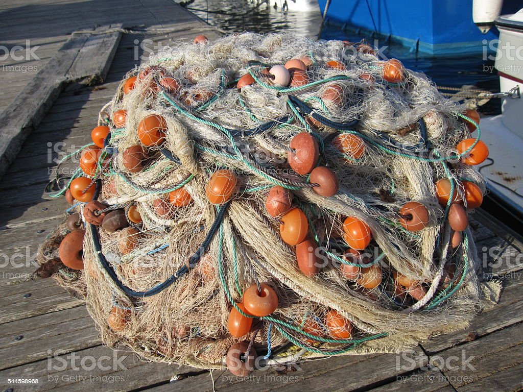 Fishing Net at Mgarr Harbour on Gozo, Malta stock photo
