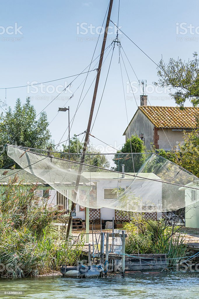 Fishing net at Rhone river - Camargue - France stock photo