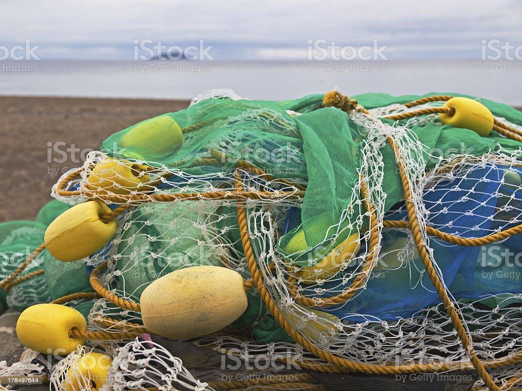 Fishing net at the beach royalty-free stock photo