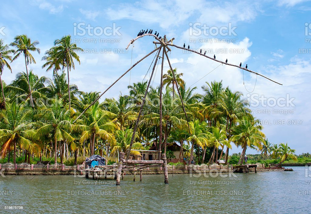 fishing net in Kerala, India stock photo