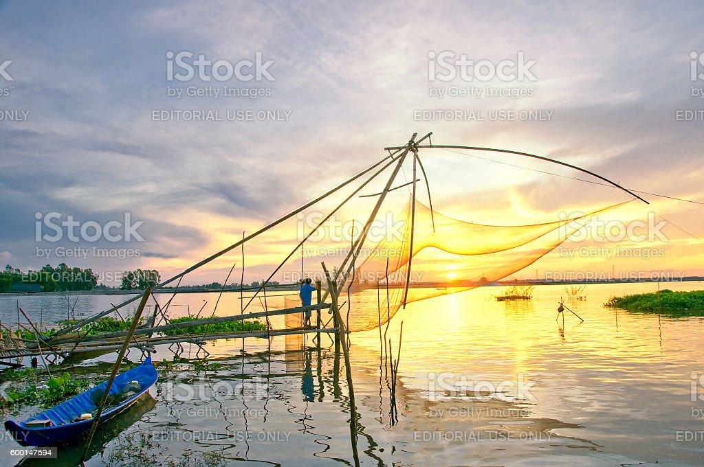 Fishing net in Mekong Delta, An Giang, Vietnam stock photo