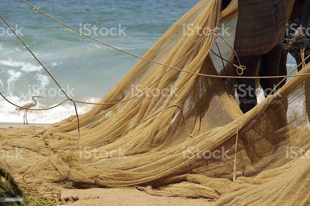 fishing net on the ocean. Kovalam, Kerala, South India royalty-free stock photo