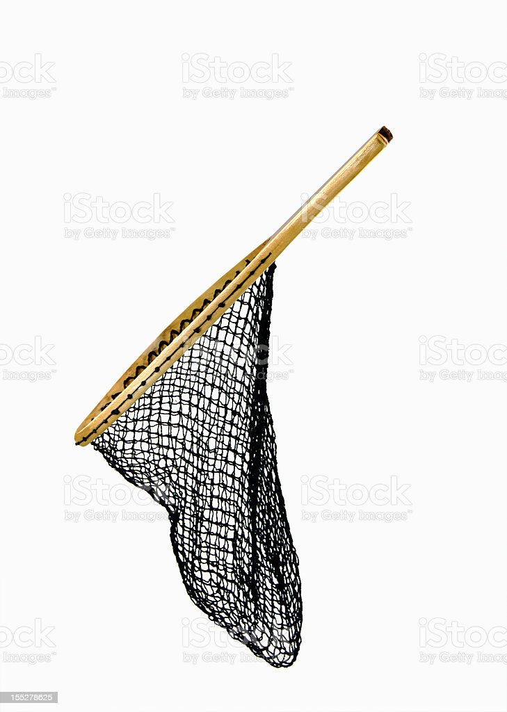 Fishing Net On White  ... Side View Slanted stock photo