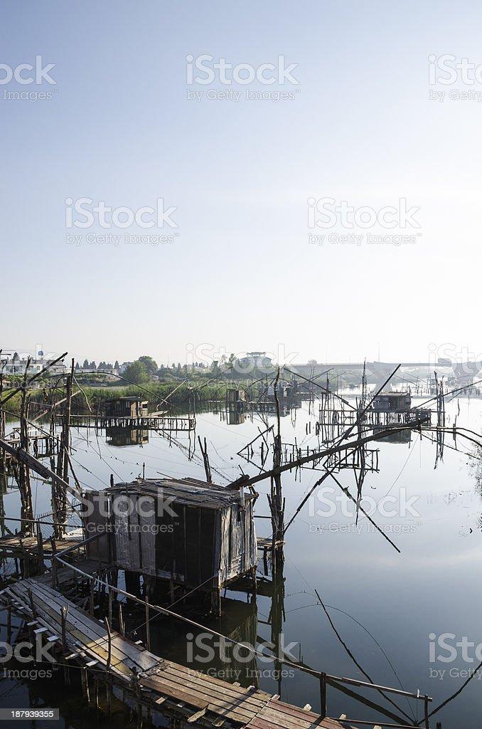 Fishing net piers stock photo