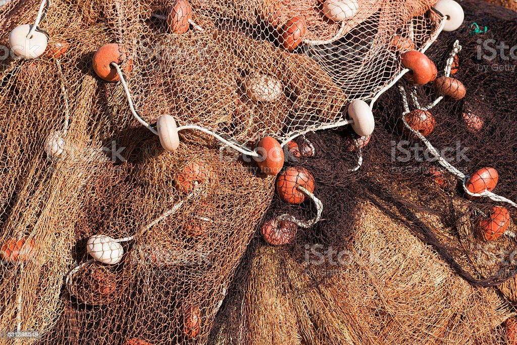 Fishing Net with Ropes and Floats stock photo