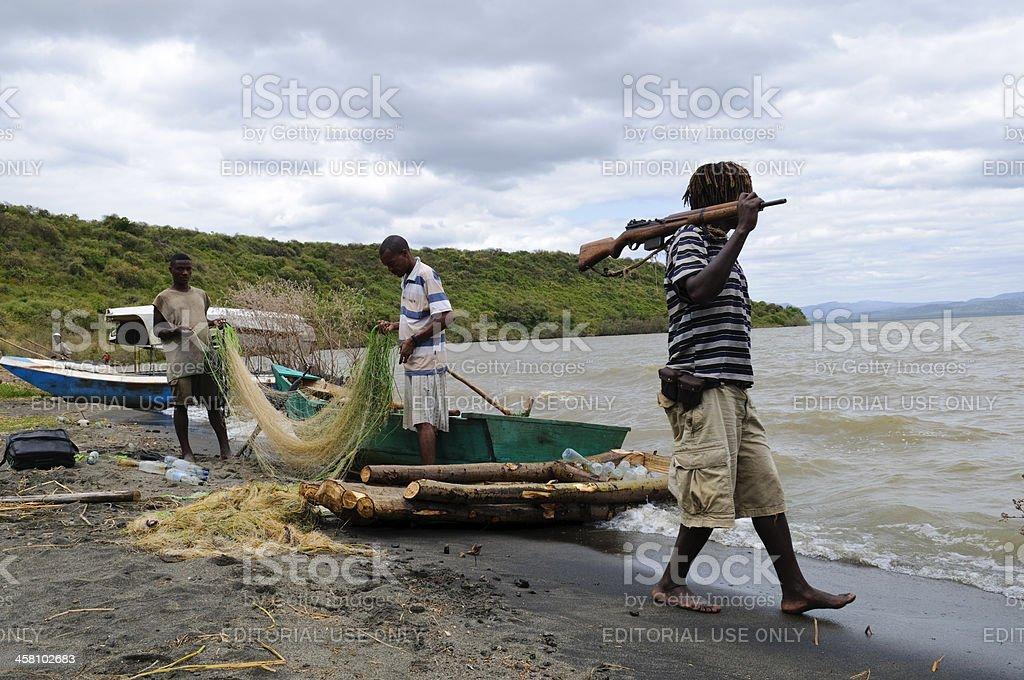 Fishing nets and rifles on Lake Chamo stock photo