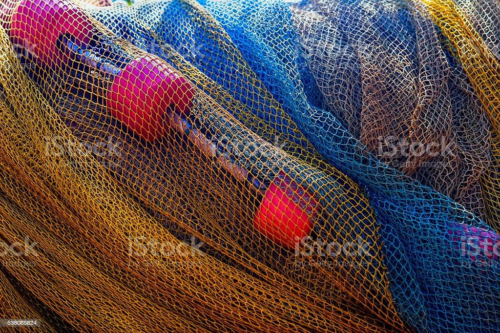 Fishing nets close-up stock photo