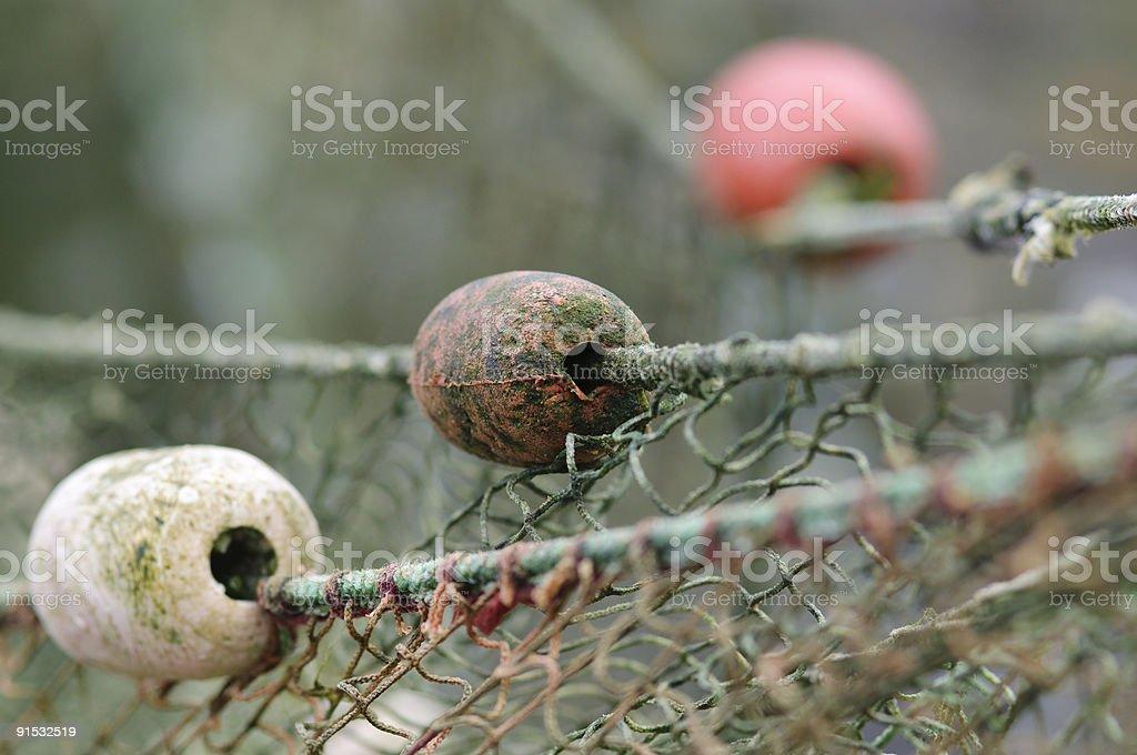 Fishing nets hung to dry stock photo