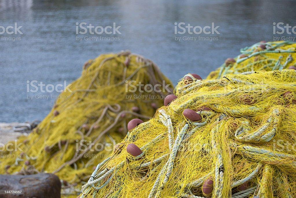 Redes de pesca em harbour foto royalty-free