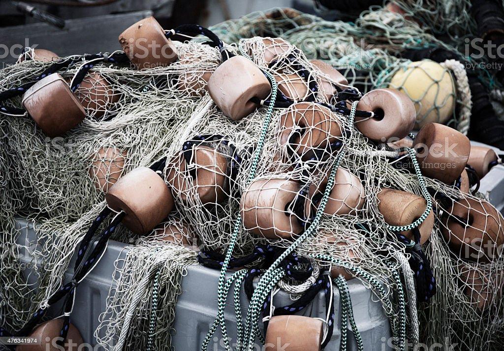 Fishing nets in Massachusetts stock photo
