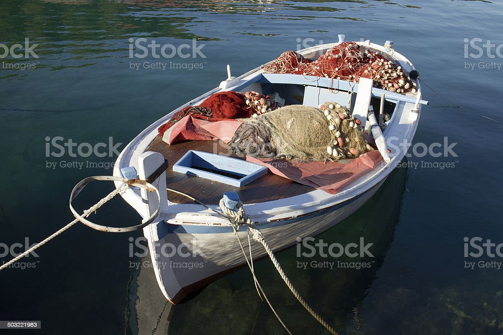 Fishing nets on deck stock photo