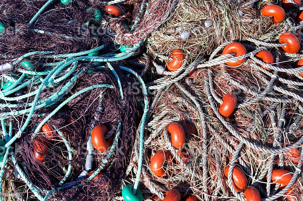 Fishing nets out to dry royalty-free stock photo