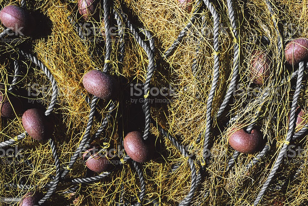 Fishing Nets, Santorini, Greece stock photo