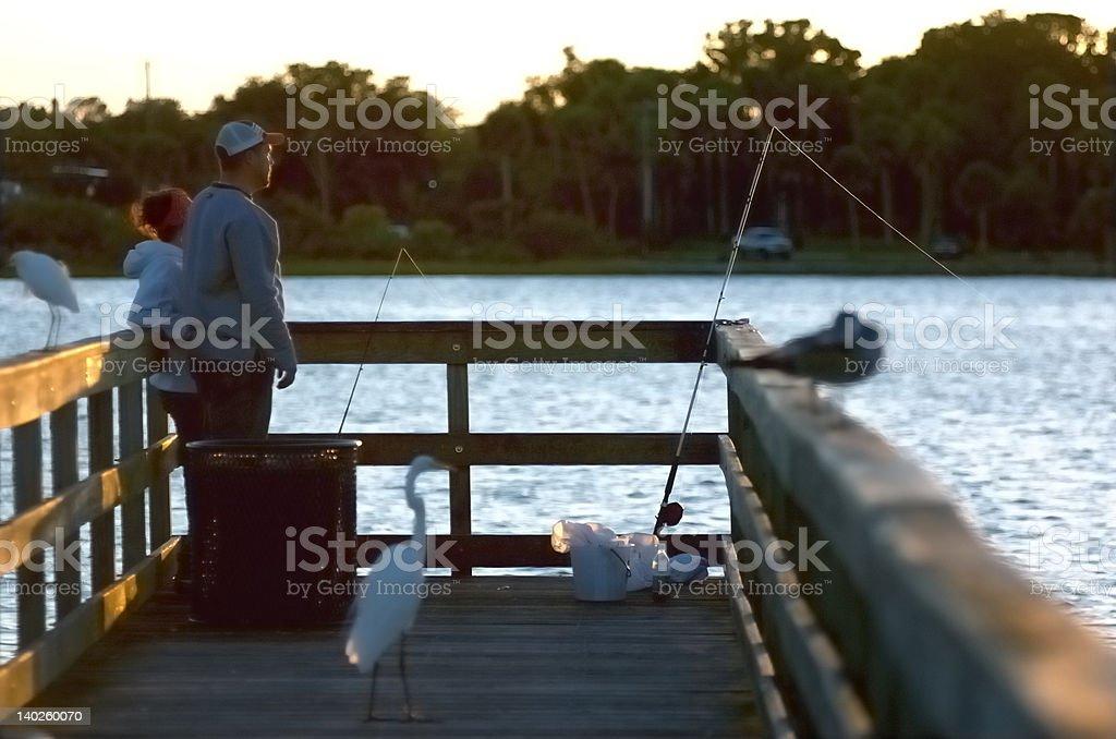 Fishing off Port Orange Pier -Part I stock photo