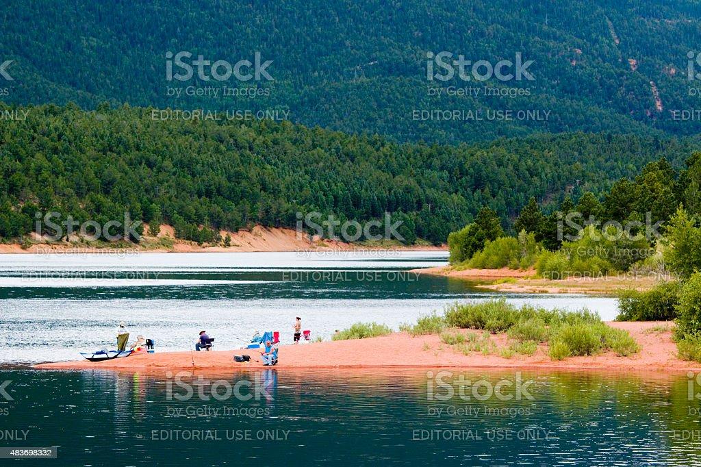 Fishing on Crystal Reservoir on Pikes Peak stock photo