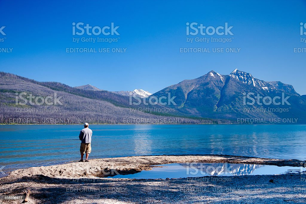 Fishing on Lake McDonald royalty-free stock photo