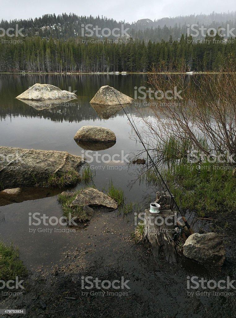 Fishing on on a Rainy Day royalty-free stock photo