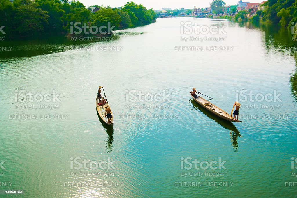 Fishing on river in Hue, Vietnam stock photo