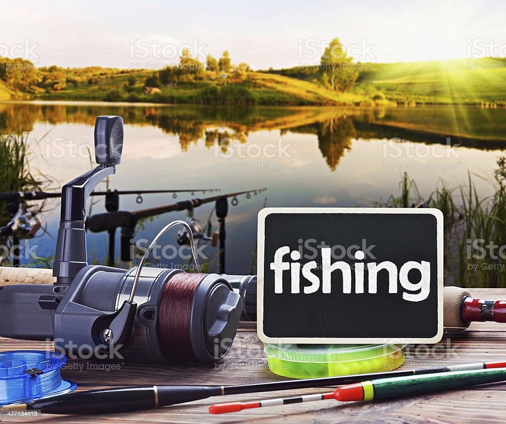 fishing on the lake royalty-free stock photo