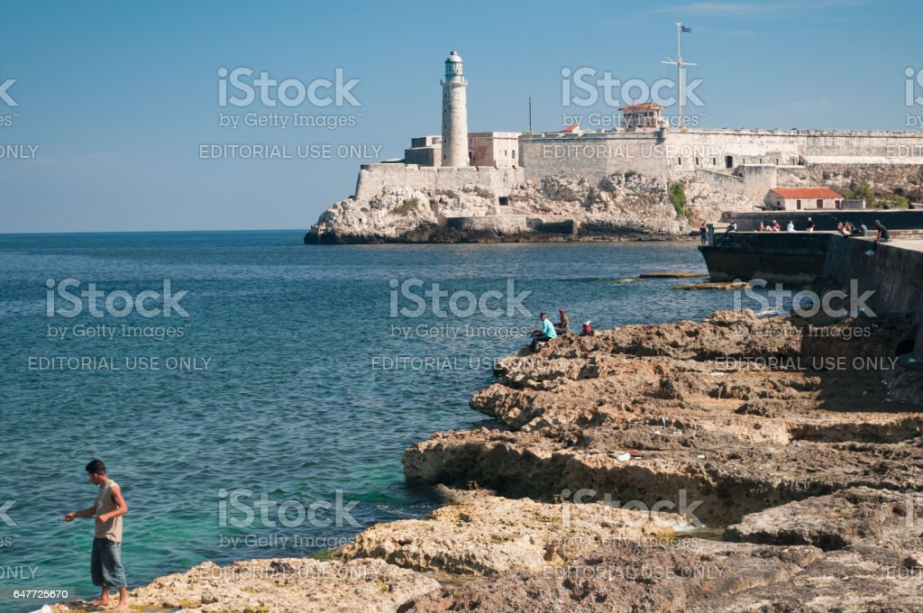Fishing on the Malecón, Havana, Cuba stock photo