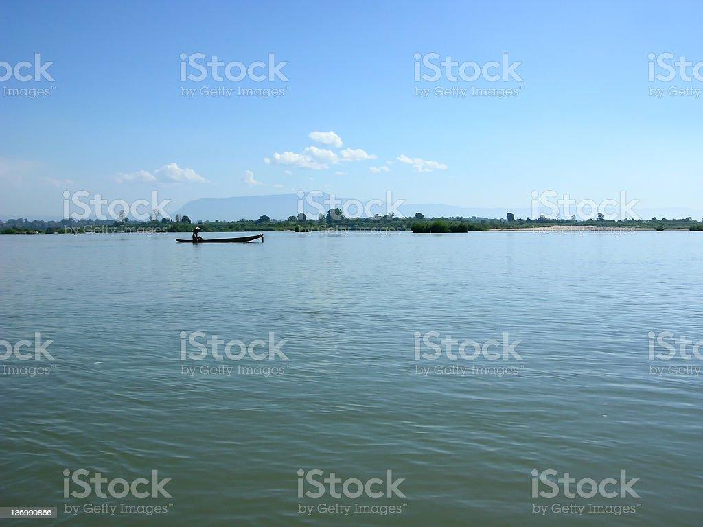Fishing on the Mekong royalty-free stock photo