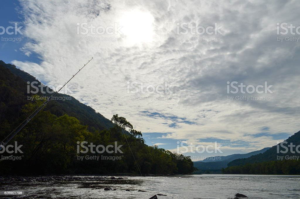 Fishing on the New River stock photo