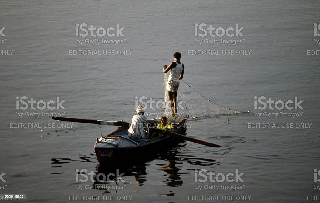 Fishing on the Nile river, Egypt stock photo